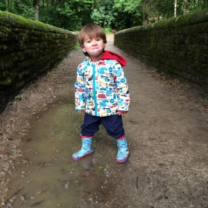 This is what puddle jumping with a gob full of cake looks like!